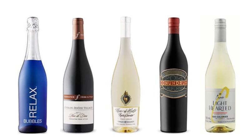 Relax Bubbles, Ferraton Père & Fils Plan de Dieu Côtes du Rhône-Villages 2019, Speck Bros. Three of Hearts Pinot Grigio 2020, Conundrum 2015, Cupcake Vineyards Light Hearted Chardonnay