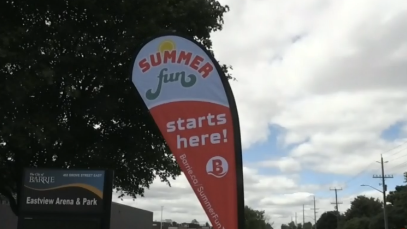 A banner promoting the City of Barrie's summer fun trailer traveling to neighbourhoods this summer. (Amanda Hicks/CTV)