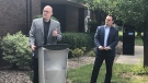 Windsor mayor Drew Dilkens and Windsor-Essex MP Irek Kusmierczyk announce $3,204,396 in joint funding toward public service projects in Windsor, Ont. on Tuesday, Aug. 3, 2021. (Alana Hadadean/CTV Windsor)
