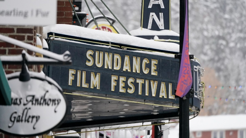 The marquee of the Egyptian Theatre in Park City, Utah, on Jan. 28, 2021. (Rick Bowmer / AP)