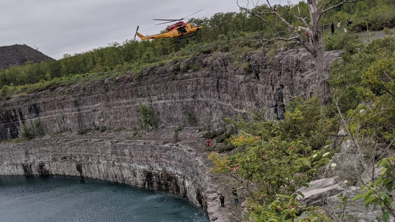 OPP say a man was rescued after falling about 30 metres at the Marmora Mine in Marmora, Ont. on Aug. 1, 2021. (OPP handout)