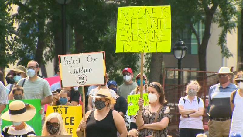 For the fifth day, protesters gathered in downtown Calgary calling on the province to keep COVID-19 health measures in place past Aug. 16.