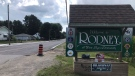 A sign welcomes people to Rodney, Ont., Tuesday, Aug. 3, 2021. (Sean Irvine / CTV News)