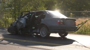Crews from Oyster River Fire Rescue were called to the Island Highway at 2:45 a.m. Tuesday after a vehicle had gone off the road and crashed into a power pole, destroying both the vehicle and the pole. (CTV News)