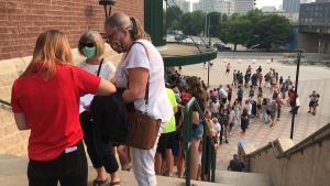 For the first time in nearly two years, the Winnipeg Goldeyes returned to the city. The team's return on Aug. 3, 2021, was met with packed stands and long lineups both in and out of the stadium. (Source: Joey Slattery/ CTV News Winnipeg)