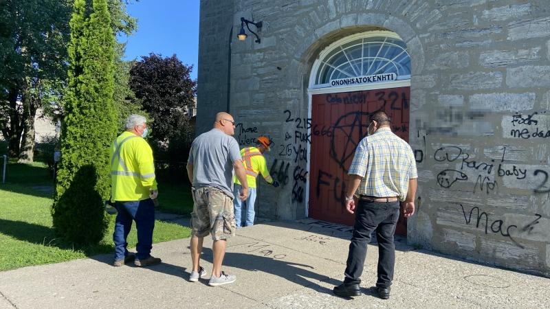 Kahnawake's St. Francis Xavier Mission Catholic Church was vandalized with graffiti on the night of July 27, 2021. (Photo courtesy of The Eastern Door/Marisela Amador)