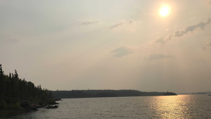 Cottagers and residents living on Bird Lake (pictured here on August 3, 2021), as well as Flanders Lake and Booster Lake have been told to be ready to leave on short notice due to wildfires. (Source: Josh Crabb/ CTV News Winnipeg)