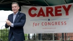 Mike Carey campaigns for Ohio's 15th Congressional District Thursday, July 22, 2021 in Grove City, Ohio. (Barbara J. Perenic/The Columbus Dispatch via AP)