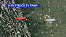 A man died early Tuesday after being struck by a train in Canmore, Alta.