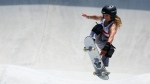 Sky Brown of Britain competes in the women's park skateboarding prelims at the 2020 Summer Olympics, Wednesday, Aug. 4, 2021, in Tokyo, Japan. (AP Photo/Ben Curtis)