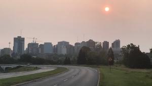Morning haze over downtown Ottawa. (Jim O'Grady / CTV News Ottawa)