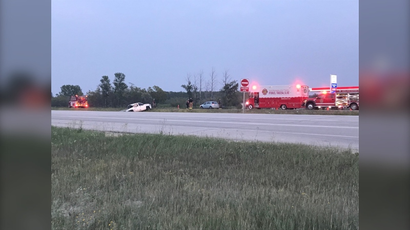 The scene on Tuesday night at Highway 59 and Dunning Road. (Source: Josh Crabb/CTV News)