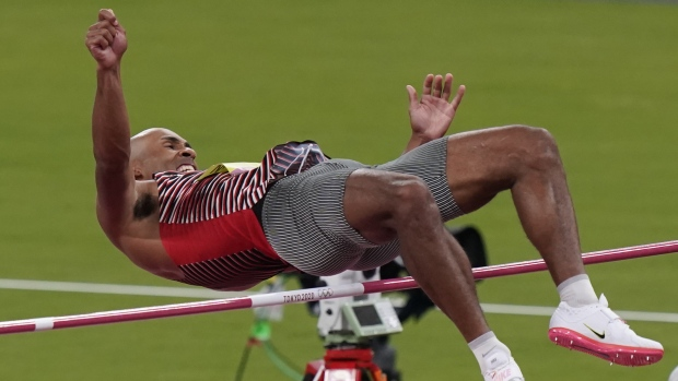 Canada's Damian Warner competes in the men's decathlon high jump during the summer Tokyo Olympics in Japan on August 4, 2021. THE CANADIAN PRESS/Adrian Wyld