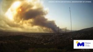 Greece blaze, plumes of smoke shown in timelapse