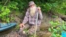 In this undated photo provided by Jodie Gedeon, David Lidstone, 81, smiles in the woods of Canterbury, N.H. (Jodie Gedeon via AP)