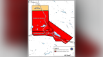 Areas that fall under evacuation order are shown in a map from the Cariboo Regional District.