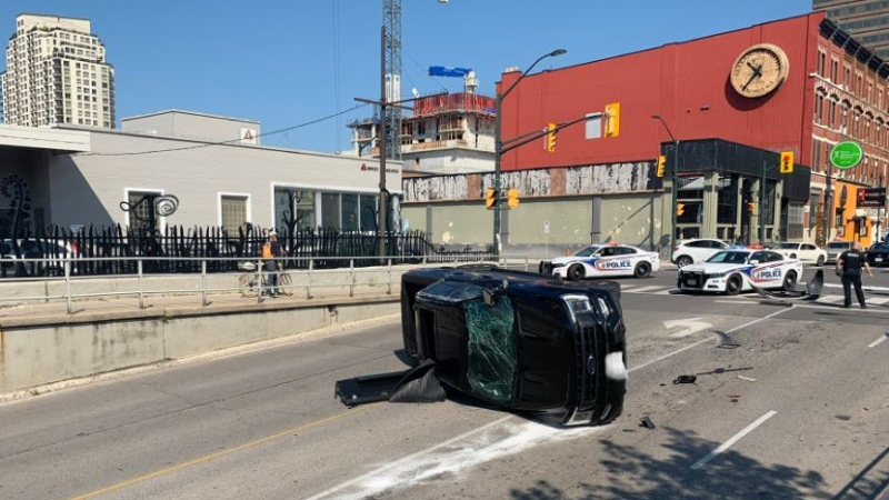 Rollover crash at Richmond and York in London, Ont. on Aug. 4, 2021. (Source: @LdnOntFire/Twitter)