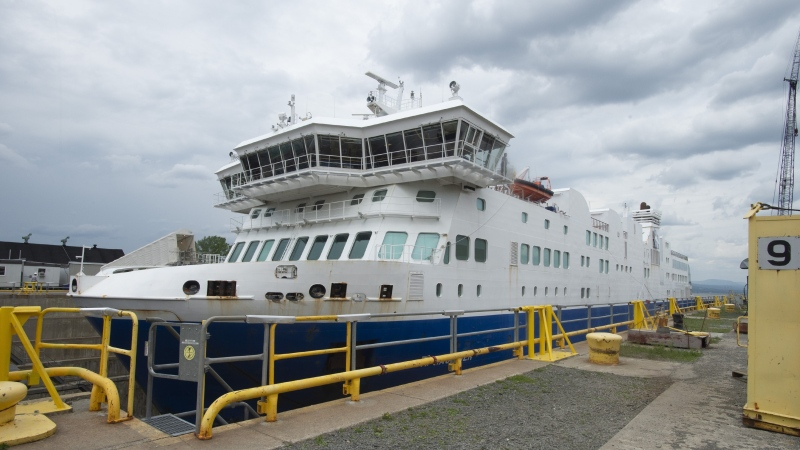 Italian-built ferry F.A. Gauthier is docked for repairs at Davie Shipyard in Levis, Que., Tuesday, July 16, 2019. THE CANADIAN PRESS/Jacques Boissinot