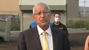 Ontario economic development minister Vic Fedeli announces $3.8 million in funding for four Ottawa-area businesses at an event in Vars, Ont. Aug. 4, 2021. (Jim O'Grady / CTV News Ottawa)