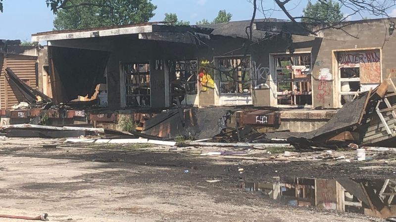 Vacant building fire remnants on Centre Street in London, Ont. on Aug. 4, 2021. (Jim Knight/CTV London)