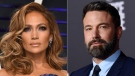 Jennifer Lopez at the Vanity Fair Oscar Party in Beverly Hills, Calif., on Feb. 24, 2019, left, and Ben Affleck at the premiere of 'Justice League' in Los Angeles on Nov. 13, 2017. (AP)