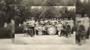 Brass band, File Hills Colony, Saskatchewan. (Source: United Church of Canada Archives)