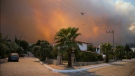 A helicopter flies as a fire engulfs the area in Oren, near Bodrum, Turkey, Tuesday, Aug. 3, 2021. (AP Photo/Emre Tazegul)