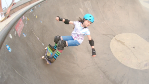 Isla Graven is 10 years old and doesn't have much fear skateboarding the big bowl at New Brighton Skateboard Park. She's one of the many girls participating in the sport