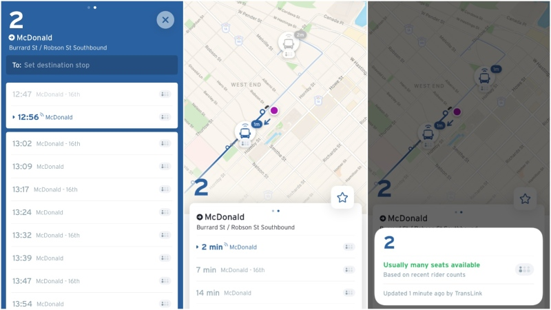 Screen grabs from the Transit app show estimates of how busy approaching buses may be.