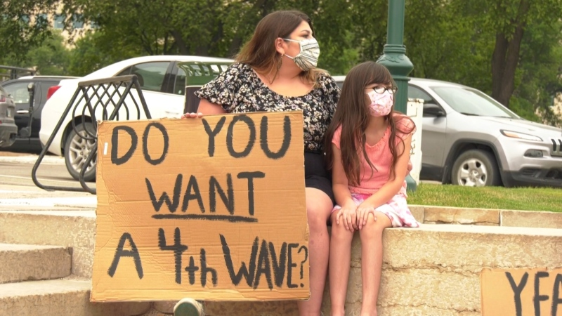 A group of Manitobans rallied outside the Manitoba Legislature on Aug. 4, 2021, protesting the government's decision to remove the mask mandate – a decision the protestors say is dangerous. (Source: Glenn Pismenny/ CTV News Winnipeg)