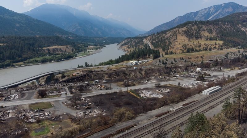 Damaged structures are seen in Lytton, B.C., on Friday, July 9, 2021, after a fire destroyed most of the village on June 30. THE CANADIAN PRESS/Darryl Dyck
