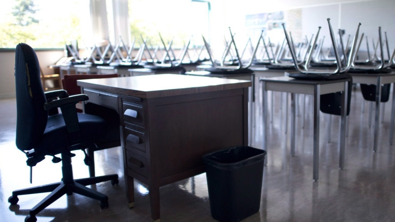 An empty teacher's desk is seen in this generic image of a classroom.  THE CANADIAN PRESS/Jonathan Hayward