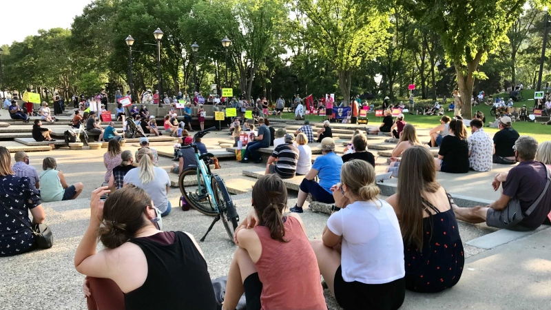 For the sixth day in a row people have gathered at the legislature to protest upcoming changes to Alberta's public health measures. (Sean Amato/CTV News Edmonton)