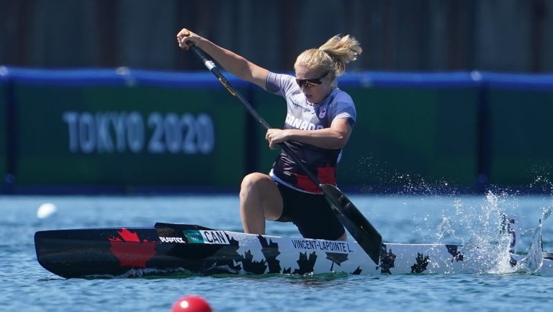Laurence Vincent Lapointe, of Canada, competes during the canoe sprint women's C-1 200m semi-finals at the 2020 Summer Olympics, Thursday, Aug. 5, 2021, in Tokyo, Japan. THE CANADIAN PRESS/Nathan Denette