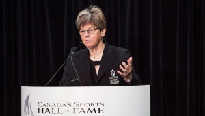 Inductee to Canada's Sports Hall of Fame Jocelyne Bourassa, Golf Builder, speaks at a press conference in Toronto on Wednesday, October 21, 2015. (THE CANADIAN PRESS/Aaron Vincent Elkaim)