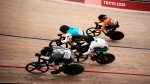Ellesse Andrews of Team New Zealand (197), Lauriane Genest of Team Canada (104), Shanne Braspennincx of Team Netherlands (187) and Luz Daniela Gaxiola Gonzalez of Team Mexico (181) compete during the track cycling women keirin at the 2020 Summer Olympics, Aug. 5, 2021, in Izu, Japan. (AP Photo/Thibault Camus)