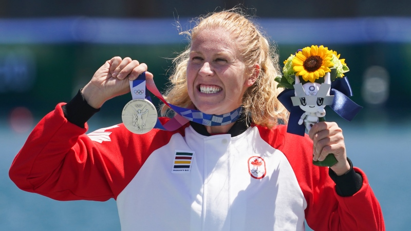 Canada's Laurence Vincent-Lapointe reacts while wearing her silver medal after competing in the canoe sprint women's C-1 200m finals at the 2020 Summer Olympics, Thursday, Aug. 5, 2021, in Tokyo, Japan. THE CANADIAN PRESS/Nathan Denette