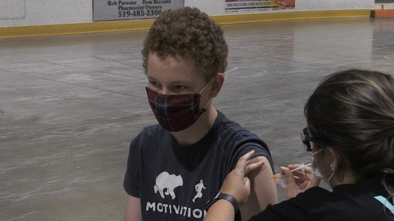 14-year-old Ryan Knox receives his second shot at a pop-up clinic in Ingersoll, Ont. on Aug. 4, 2021. (Bryan Bicknell/CTV London)