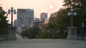 The sun rises over the ByWard Market on Thursday, Aug. 5, 2021. (Jim O'Grady/CTV News Ottawa)