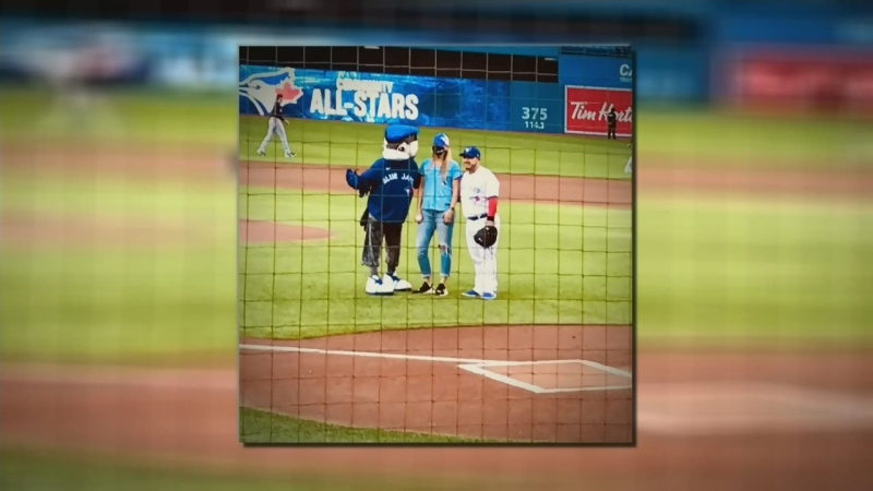First responder from Barrie pitches at Jays game