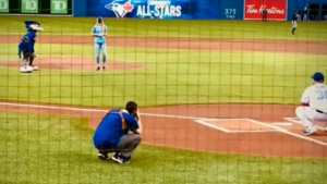 First responder and Garrie resident Kelli Gunn throws the first pitch of the Blue Jays game on Wed, Aug 4, 2021. (Courtesy: Kelli Gunn)