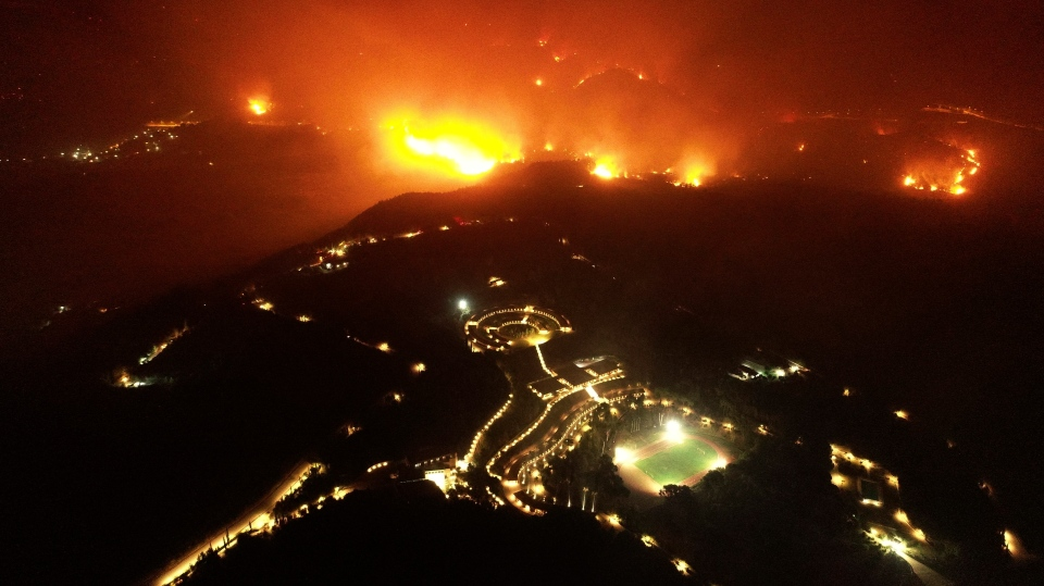 Wildfire approaches ancient Olympia