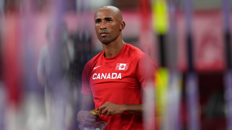 Canada's Damian Warner competes in the decathlon javelin throw at the 2020 Summer Olympics, Aug. 5, 2021, in Tokyo. (AP Photo/David J. Phillip)