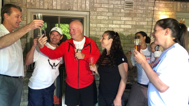 Friends and family of London, Ont. decathlete Damian Warner celebrate his historic gold medal victory in Tokyo on Aug. 5, 2021. (Nick Paparella/CTV London)