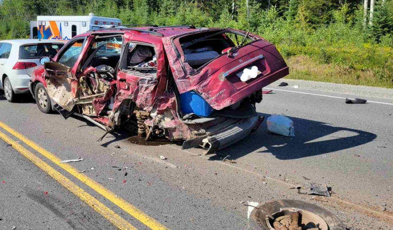 A Brampton, Ont., driver has been charged with dangerous driving following an eight-vehicle collision on Highway 11 east of Timmins. (Supplied)
