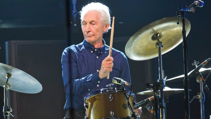 Charlie Watts, of the Rolling Stones, performs in Nanterre, France, on Oct. 22, 2017. (Michel Euler / AP)