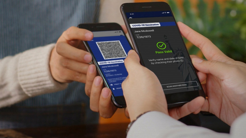 """In this undated photo, provided by NY Governor's Press Office on Saturday March 27, 2021, is the new """"Excelsior Pass"""" app, a digital pass that people can download to show proof of vaccination or a negative COVID-19 test. Vaccine passports being developed to verify COVID-19 immunization status and allow inoculated people to more freely travel, shop and dine have become the latest flash point in America's perpetual political wars, with Republicans portraying them as a heavy-handed intrusion into personal freedom and private health choices. (NY Governor's Press Office via AP, File)"""