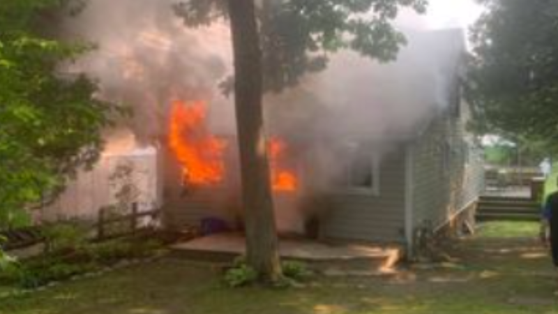 CTV News viewer Luciano Lolli captured the footage of this cottage in Tiny Township being engulfed in fire on Wed., Aug 4, 2021. (Courtesy: Luciano Lolli)