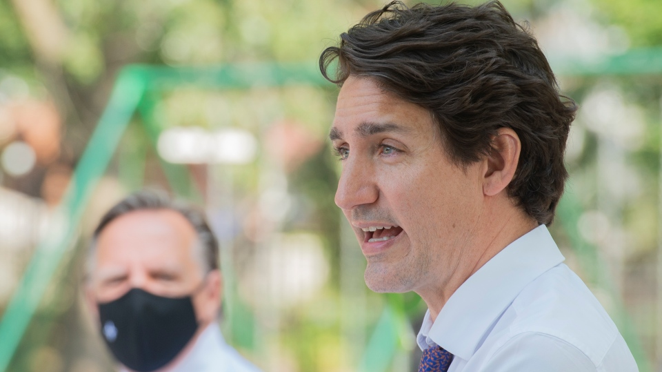Prime Minister Justin Trudeau, right, and Quebec P