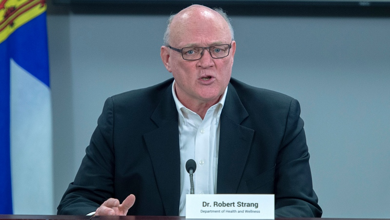 """""""So, I need to be blunt, whether we have restrictions or not in September, is fully in the hands of the Nova Scotians who currently have an appointment booked, but have not yet moved it up into August,"""" Dr. Robert Strang, Nova Scotia's chief medical officer of health said Thursday.  (THE CANADIAN PRESS/Andrew Vaughan)"""